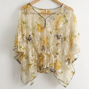 Free People Lace Floral Blouse